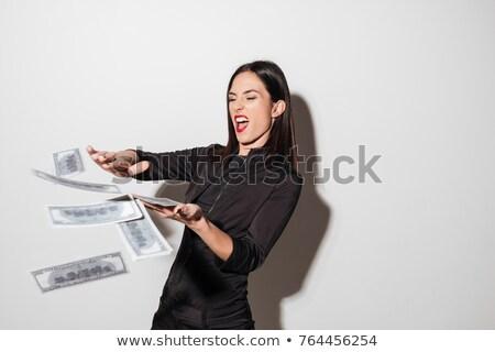 Vrouw rode lippen geld foto jonge vrouw permanente Stockfoto © deandrobot