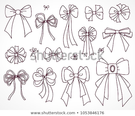 set of bows for the design congratulatory cards gifts souvenirs drawing sketches stock photo © essl