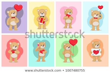 gelukkig · valentijnsdag · mannelijke · teddybeer · bijenkorf · honing - stockfoto © robuart