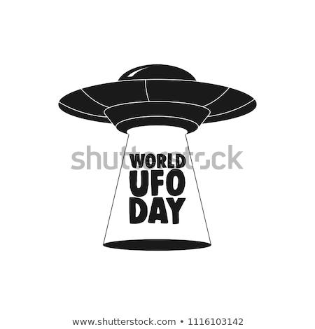 Uçan fincan tabağı ufo beyaz Metal seyahat Stok fotoğraf © popaukropa