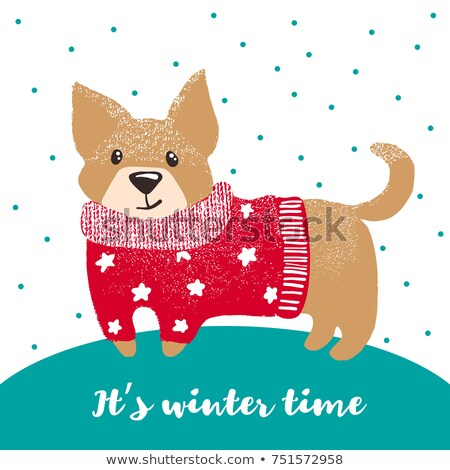 2018 New Year knitted template red background. poster Christmas. Stock photo © MaryValery
