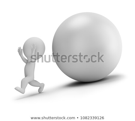 3d small people - runs away from the rolling ball Stock photo © AnatolyM