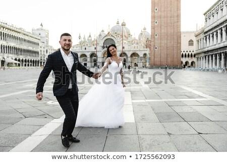 Zdjęcia stock: Pan · młody · oblubienicy · trzymając · się · za · ręce · Wenecja · kobieta · niebieski