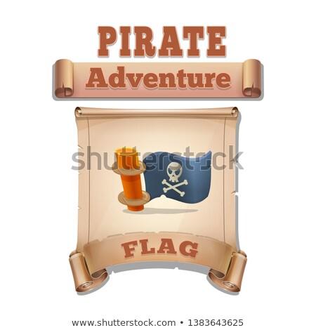 pirata · papel · ilustração · em · pé · mar - foto stock © dashadima