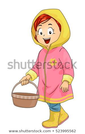 Kid девушки садовник корзины иллюстрация Cute Сток-фото © lenm