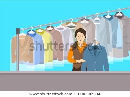 ázsiai lány recepció száraz takarítás bolt Stock fotó © vectorikart