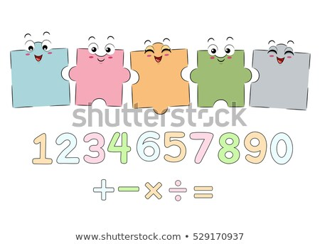 kirakós · játék · darabok · számok · vektor · négy · színek - stock fotó © lenm