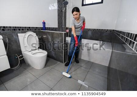 soubrette · nettoyage · sale · salle · de · bain · illustration · eau - photo stock © bluering