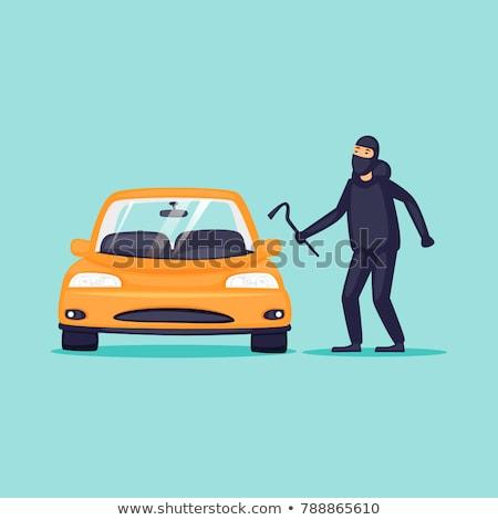 autó · tolvaj · rajzolt · emberek · betűk · illusztráció · izolált - stock fotó © decorwithme
