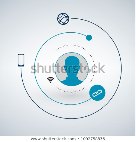 user head and network circles around him with technology or gadget icons. Vector flat design illustr Stock photo © kyryloff
