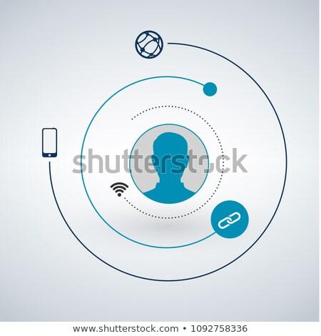 Użytkownik głowie sieci circles około technologii Zdjęcia stock © kyryloff