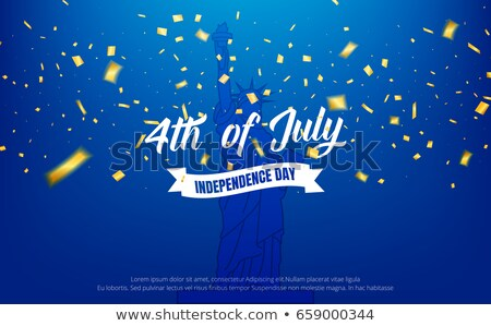 Fourth of July. Independence Day Sale Banner Design with Gold Stars on Flag Background. USA National Stock photo © articular