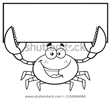 black and white happy crab cartoon mascot character holding blank sign stock photo © hittoon