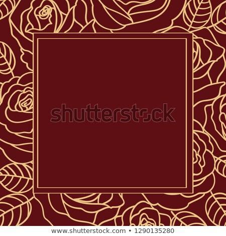 Tender beige outline roses frame, copy space Stock photo © TasiPas