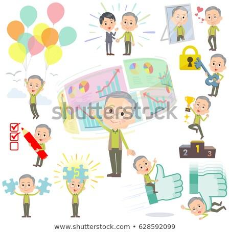 Zielone kamizelka dziadek sukces pozytywny zestaw Zdjęcia stock © toyotoyo