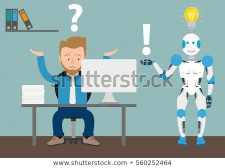 cyborg · imprenditore · ufficio · robot · intelligenza · artificiale · vettore - foto d'archivio © maryvalery