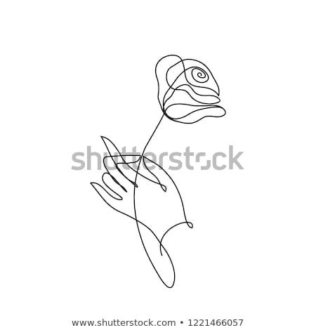 Rose stylisé fleur symbole main Photo stock © ESSL