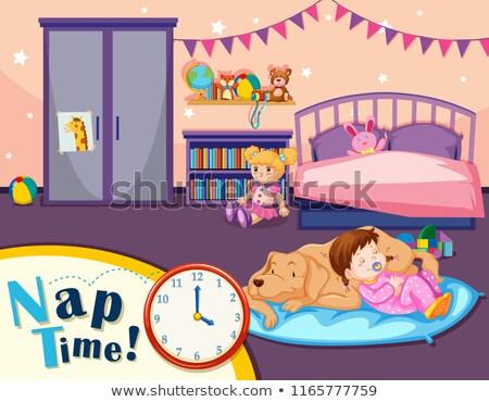 Młoda dziewczyna drzemka czasu scena ilustracja psa Zdjęcia stock © bluering