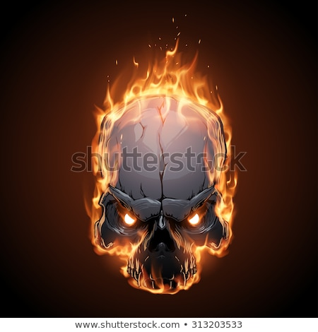 Skull fire. Head skeleton flame. flaming skull tattoo sign Stock photo © popaukropa
