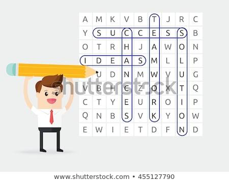 Kelime arama bilmece kalem beyaz Stok fotoğraf © rakey