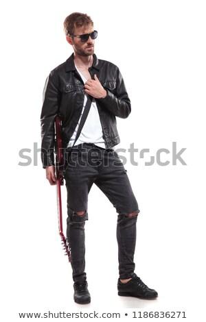 Bonito estrela do rock posando guitarra Foto stock © feedough