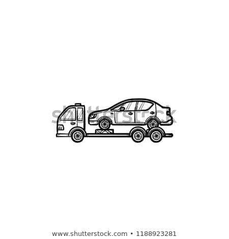 Tow truck with broken car hand drawn outline doodle icon. Stock photo © RAStudio