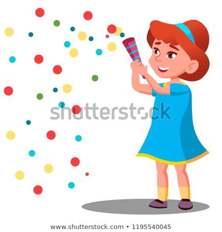 Menina criança confete carnaval festa Foto stock © pikepicture