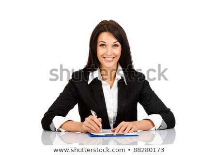 Genç kız ofis tablo kalem el dışarı Stok fotoğraf © Traimak