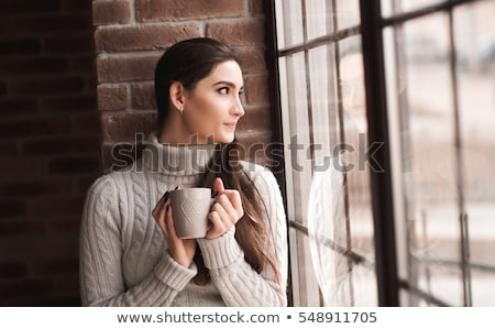 Woman posing on the windowsill Stock photo © acidgrey