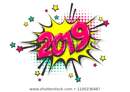 colorful retro style numbers 2019 and happy new year greetings stock photo © ussr