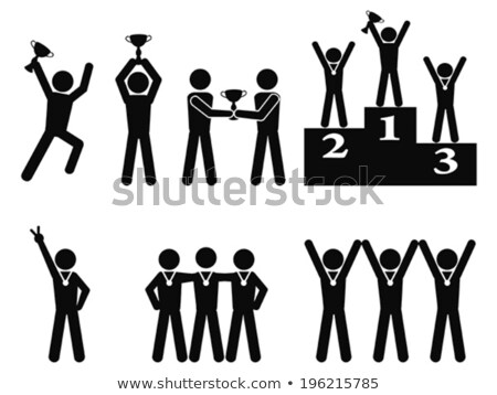 Stick figures as winners with trophy on the podium Stock photo © Ustofre9
