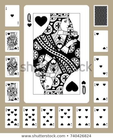 Jogar cartão rainha corações preto e branco novo Foto stock © Krisdog