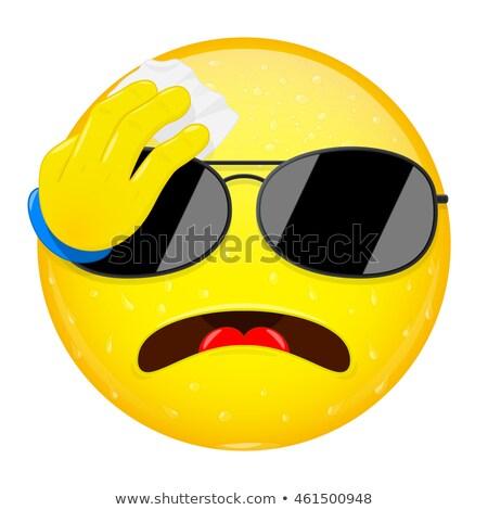 Naar zonnebril emoticon vrouwelijke vrouw glimlach Stockfoto © yayayoyo