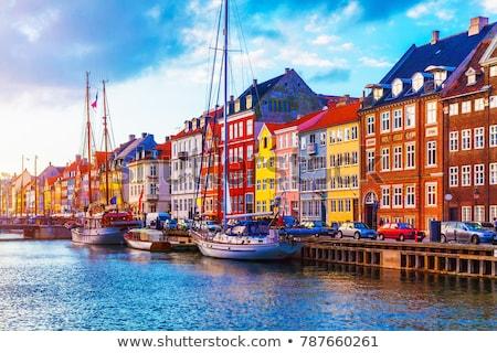 Kikötő Koppenhága Dánia hagyományos házak épület Stock fotó © boggy