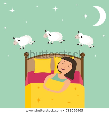 girl counting sheep at bedtime stock photo © colematt
