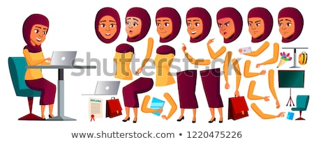 Teen Girl Vector. Arab, Muslim. Animation Creation Set. Face Emotions, Gestures. Caucasian, Positive Stock photo © pikepicture