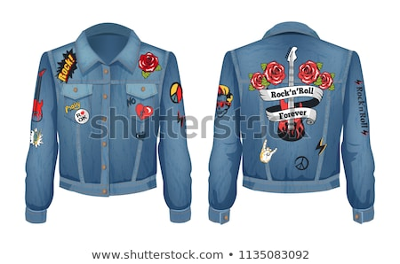 jeans jacket with roses patch vector illustration stock photo © robuart