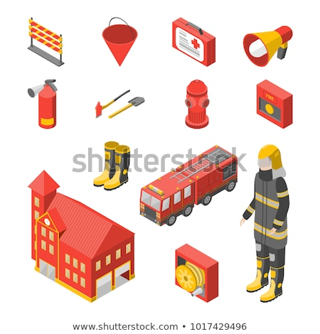 isometric fire extinguisher   set of safety equipment vector illustration stock photo © tashatuvango