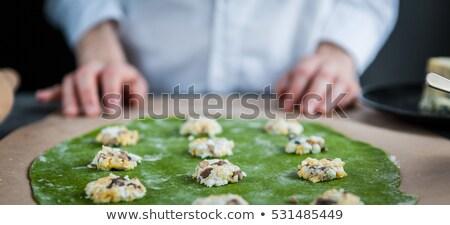 Doldurulmuş mantar gıda pişirme Noel kutlama Stok fotoğraf © zoryanchik