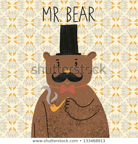 cartoon smiling detective bear stock photo © cthoman