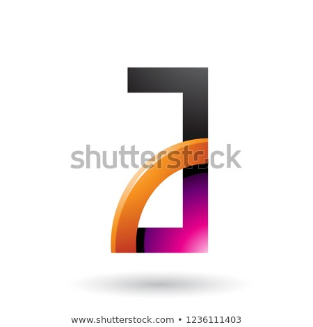 Magenta and Orange Letter A with a Glossy Quarter Circle Vector  Stock photo © cidepix