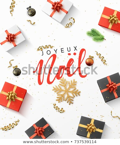 Red Christmas gift Noel greeting card in french Stock photo © cienpies