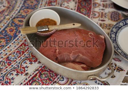 vesepecsenye · grill · marhahús · grillezett · zöldbab · krumpli - stock fotó © grafvision