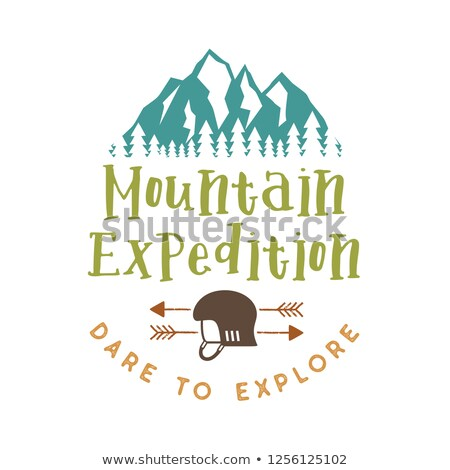 Mountain Expedition Badge with quote Dare to Explore and Mountains, climbing helmet and arrows. Nice Stock photo © JeksonGraphics