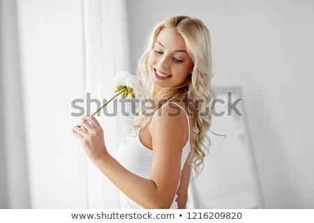 Mulher roupa interior flor janela manhã pessoas Foto stock © dolgachov