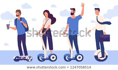 young teenager with hoverboard icons set vector stock photo © robuart