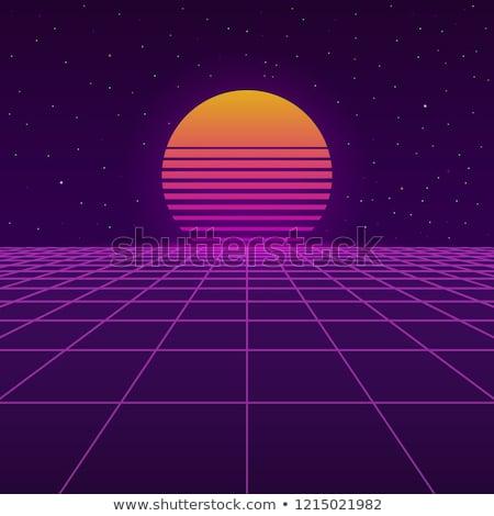 Futurisztikus 80-as évek új retro hullám naplemente Stock fotó © AisberG