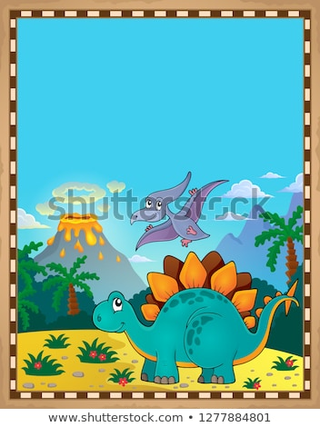 Dinosaur theme parchment 5 Stock photo © clairev