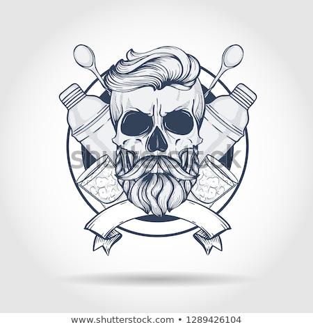 Rajz csapos koponya kézzel rajzolt szakáll shaker Stock fotó © netkov1