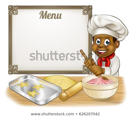 Afro-amerikaanse bakker chef kok mascotte illustratie Stockfoto © patrimonio